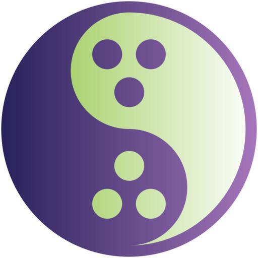 The international symbol of Dudeism, a yin-yang with 3 holes on each side.